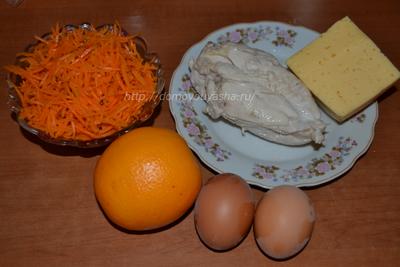 Салат с курицей и апельсином.