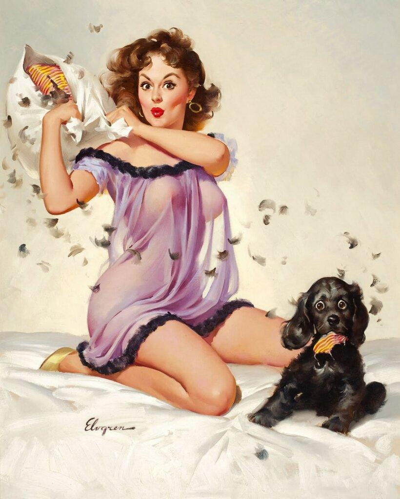 Рисованные девушки с открыток