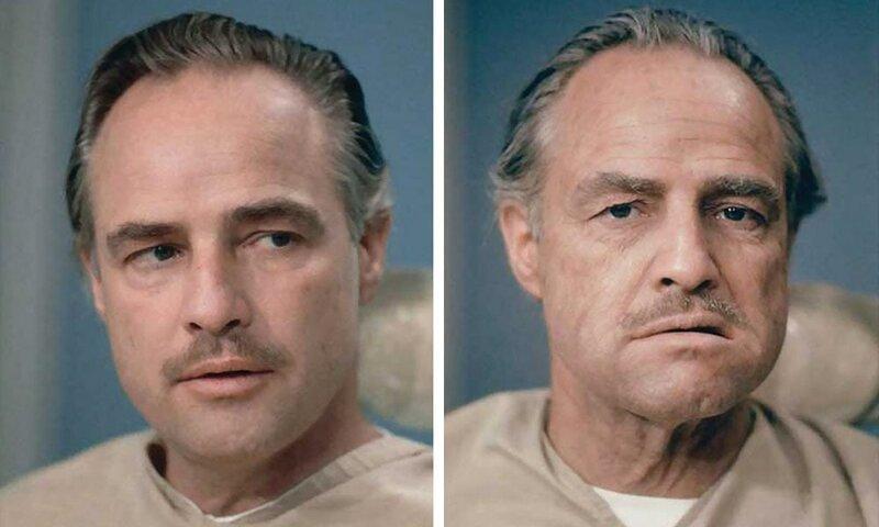 6. Марлон Брандо готовится к роли Дона Корлеона было стало, в мире, люди, подборка, сравнение, фото