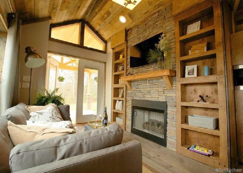 Стильный интерьер маленького загородного домика Фото