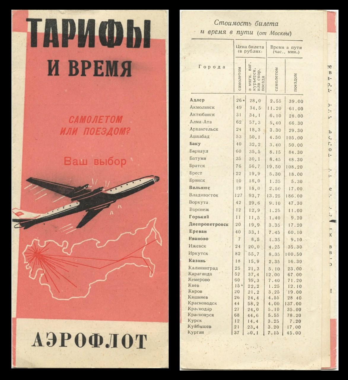 Начало 60-х. Самолетом или поездом ? – сравнение цен и времени