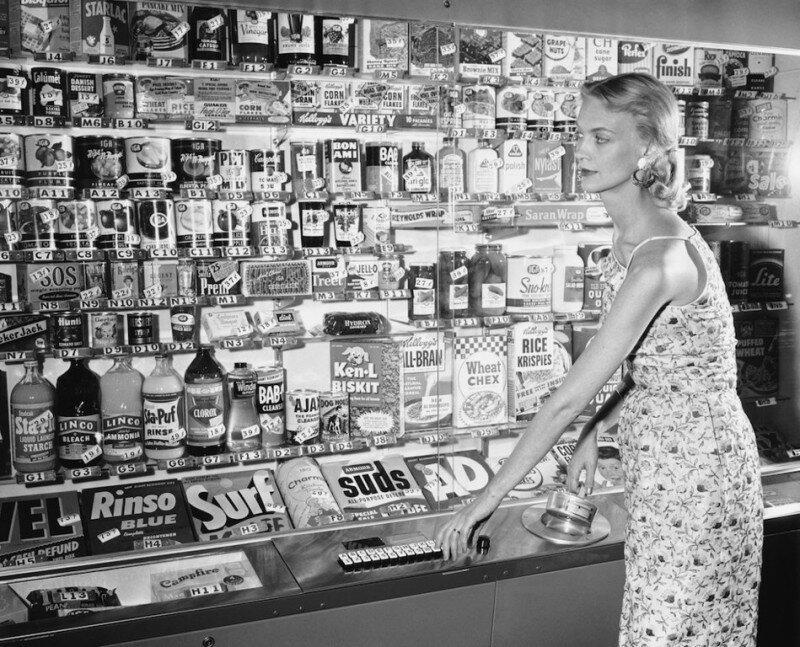 Магазин-автомат самообслуживания, 1956 год. история, ретро, фото