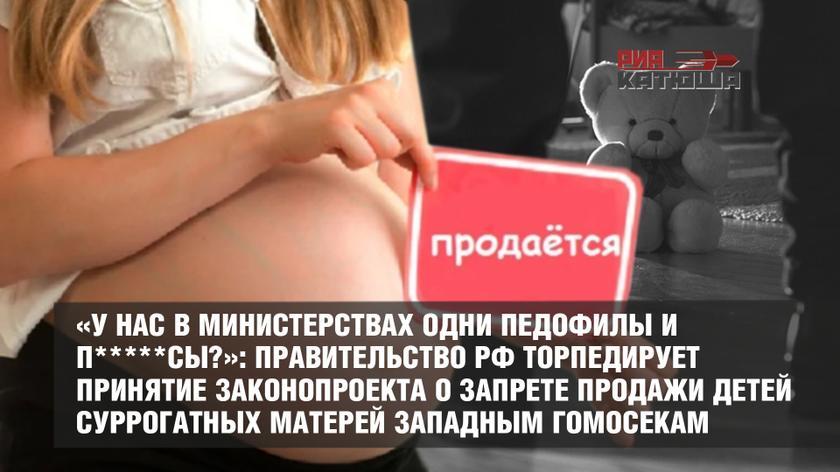 «У нас в министерствах одни педофилы и п*****сы?»: Правительство РФ торпедирует принятие законопроекта о запрете продажи детей суррогатных матерей западным гомосекам россия
