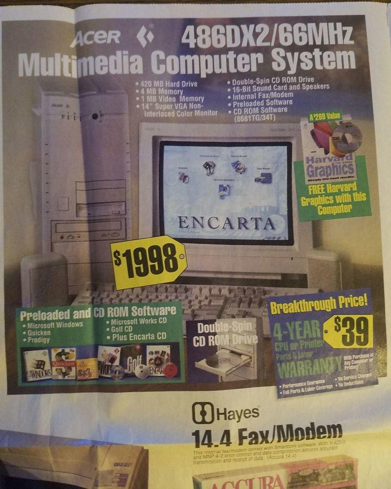 Компьютерная система с процессором 66 МГц вещи, гаджеты, ностальгия, реклама, техника
