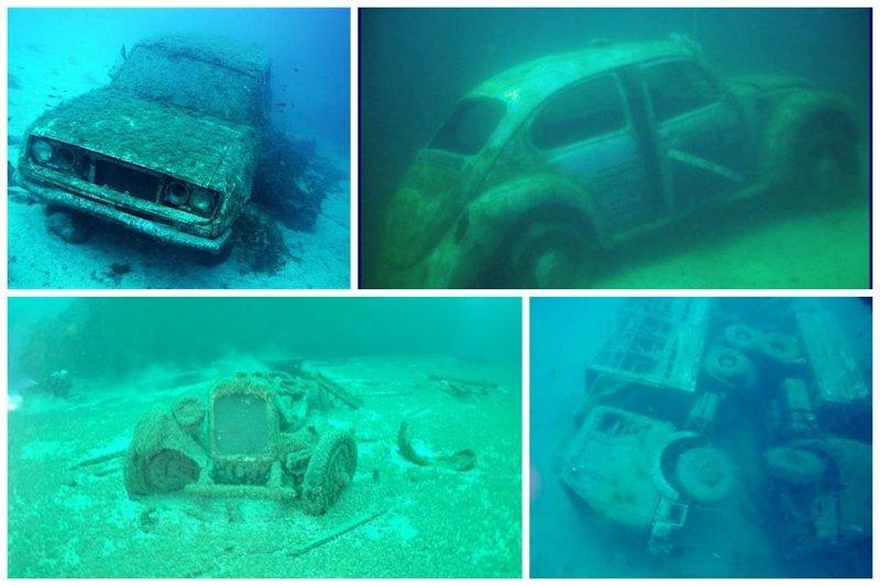 Машины и мотоциклы жизнь, затонувшие, под водой, страшно, техника, удивительно