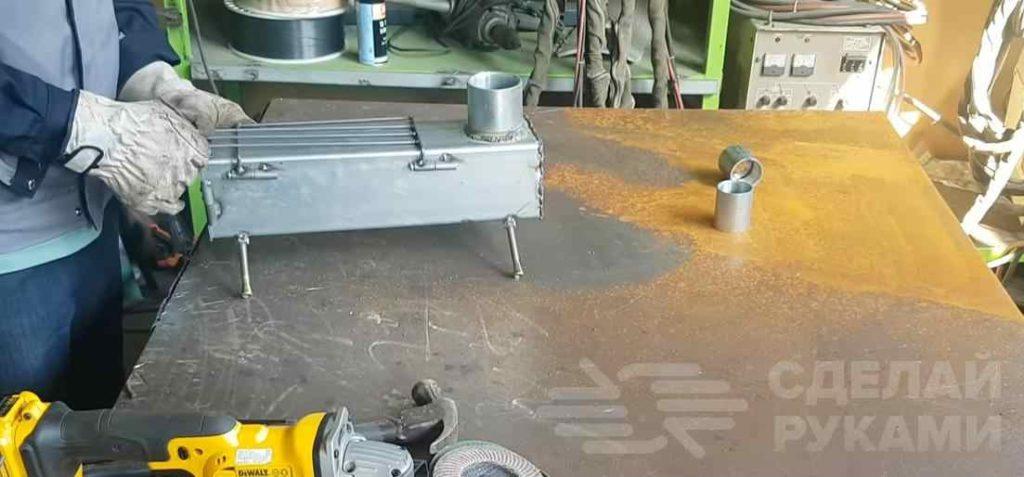 Походная дровяная мини печь из профильной трубы самоделкин