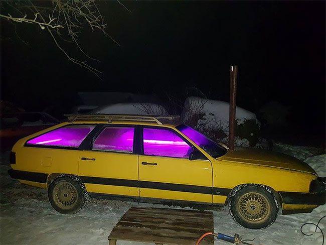 Старенькую Audi превратили в сауну на колесах автомобили,дороги,ремонт автомобилей,тюннинг