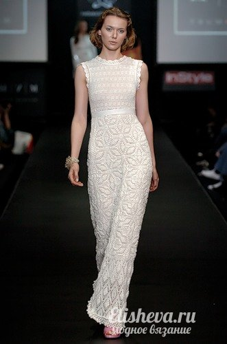 Длинное вечернее платье в пол вязаное крючком «Летний зефир»