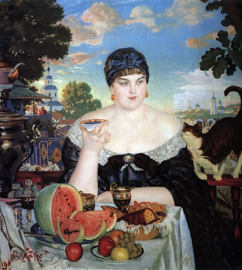 Купчиха за чаем. (1918). Автор: Б.М.Кустодиев.