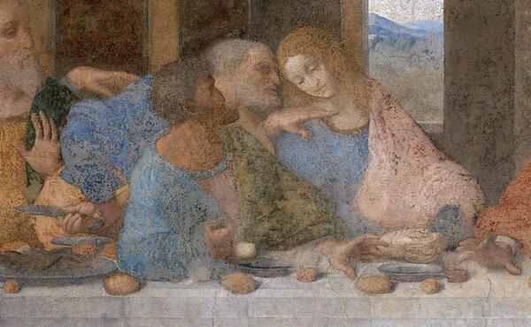 """Фрагмент """"Тайной вечери"""" Леонардо да Винчи: Иуда на переднем плане - сжимает мешочек с деньгами в правой руке."""