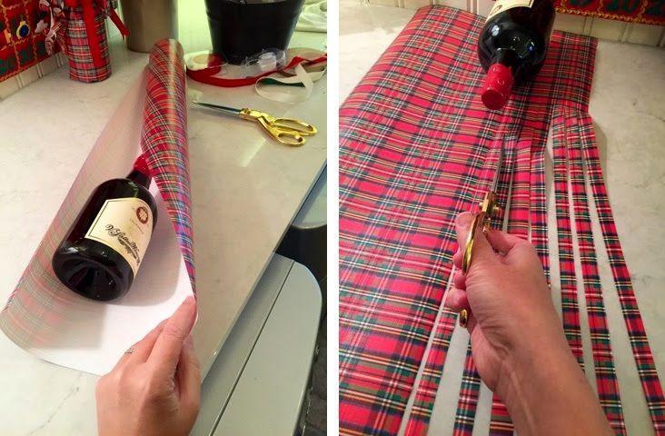 новогодняя упакова бутылки в подарок из бумаги 02