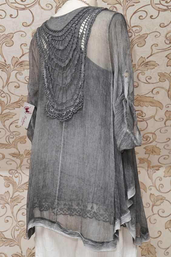 DIVERSE GREY 2PIECE TUNIC DRESS BOHO LAGENLOOK TOP WITH BEAUTIFUL EMBROIDERY | eBay | back:
