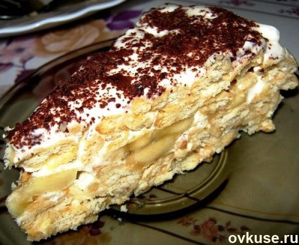торт из печенья без выпечки с бананом с фото