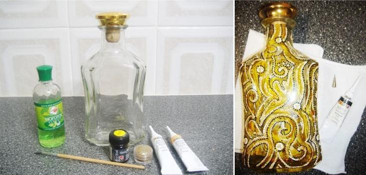 Роспись бутылки контурами своими руками