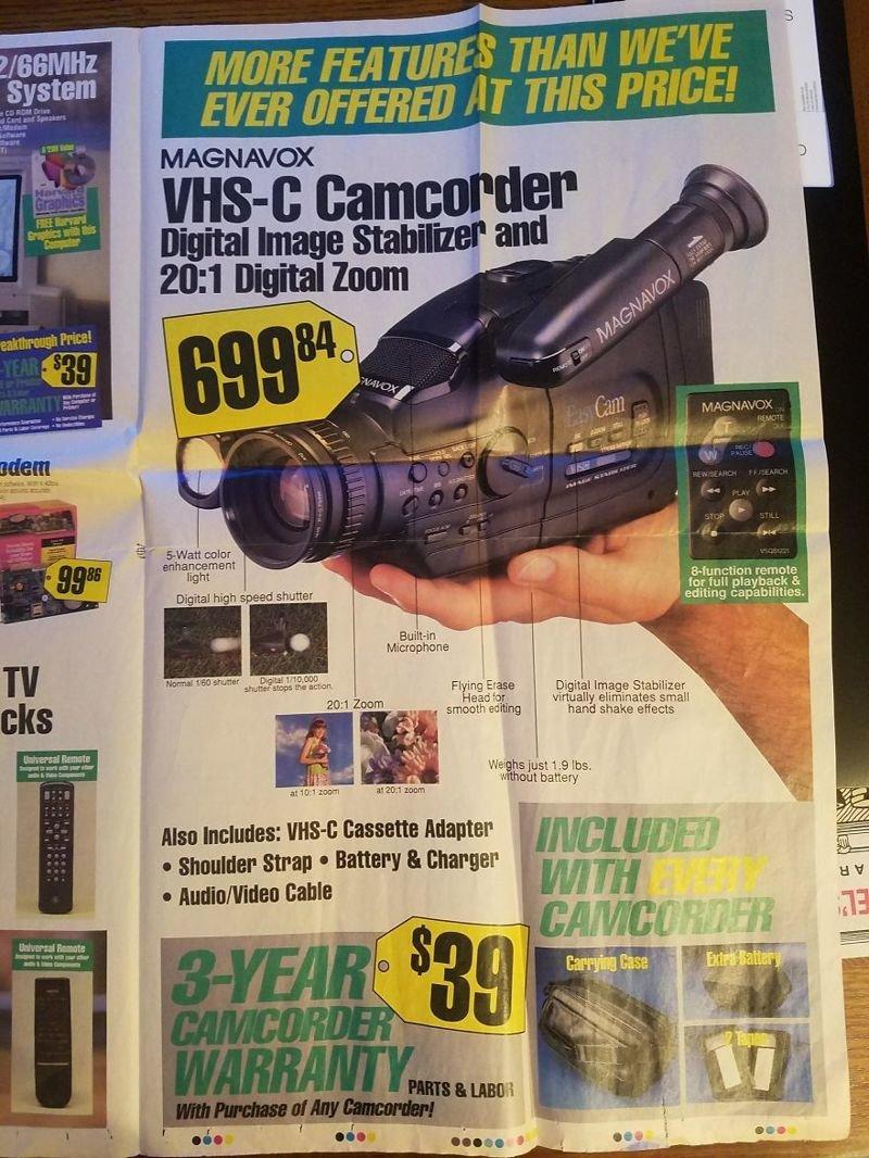 Видеокамера, записывающая на кассеты формата VHS-C вещи, гаджеты, ностальгия, реклама, техника