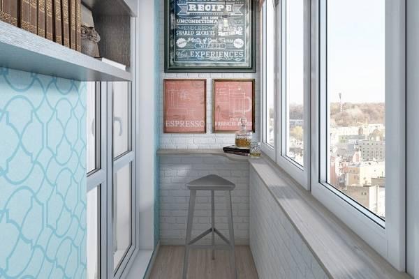 Дизайн балкона с барной стойкой вместо подоконника