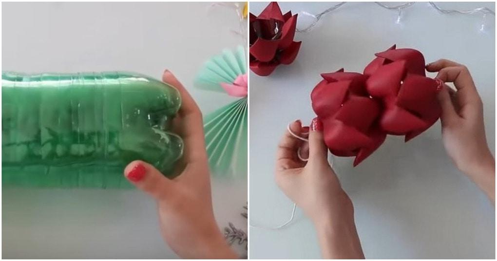 Стильное новогоднее украшение из простой пластиковой бутылки