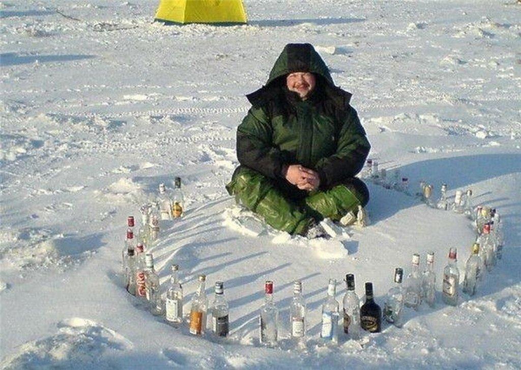 Прикольные картинки зимней рыбалки, днем