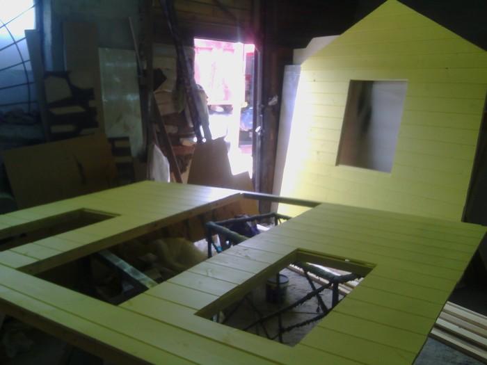 Детский игровой домик во двор... рублей, 3040мм, 12202440мм, собирается, 3метра, сборки, бруса, Фанера, покраскуДальше, отдельный, стена, детали, отвозятся, место, Каждая, шайбой, каркаси, Мастер, опорной, установки
