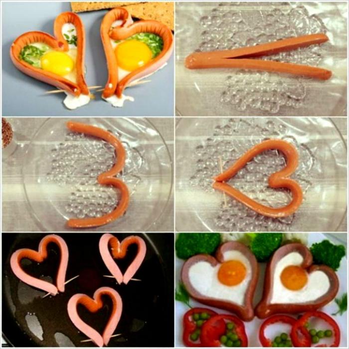 Оригинальный способ приготовления яичницы в форме сердечек.