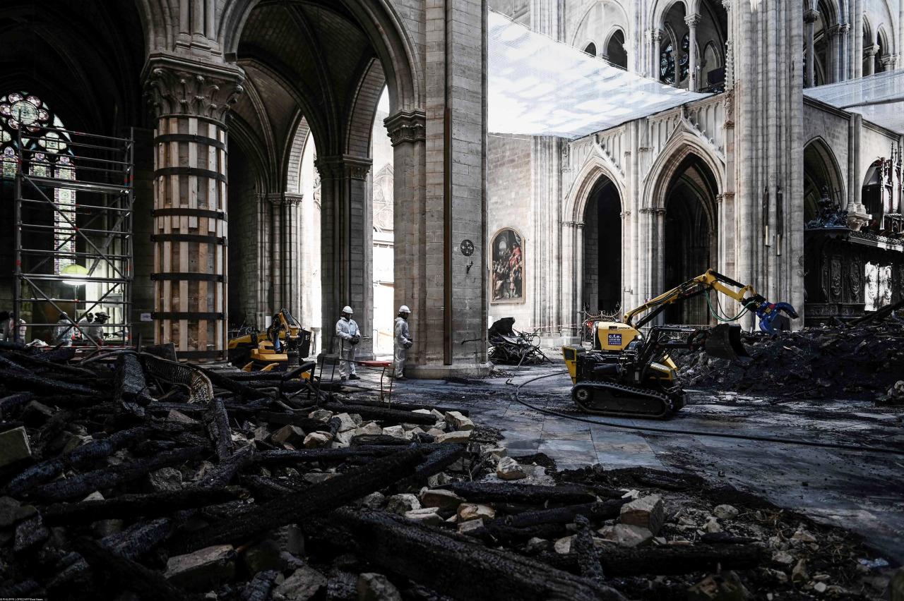 Собор Парижской Богоматери спустя месяц после пожара