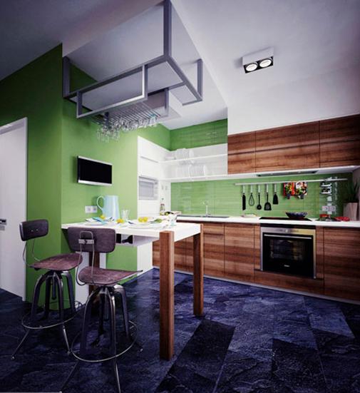 Контрастное решение для кухни от Антона Шляпина