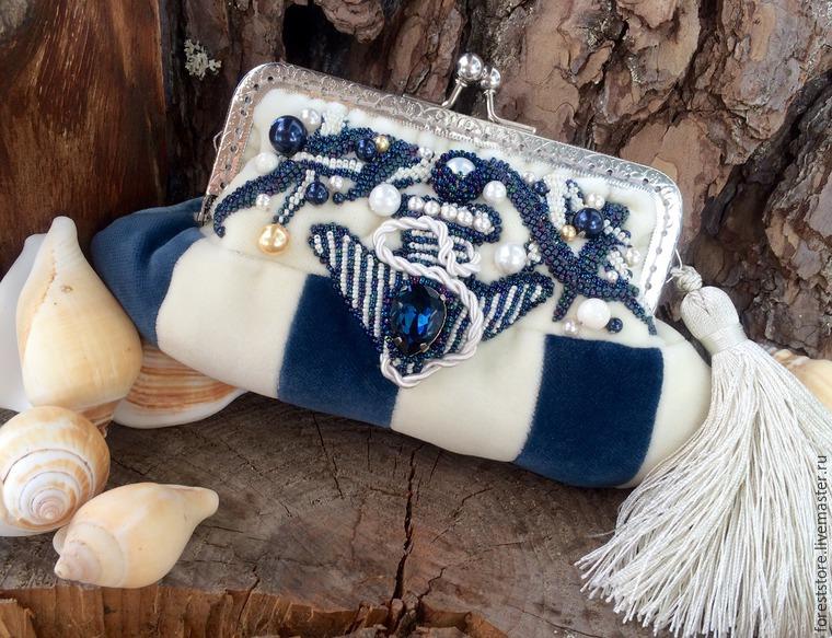 Создаём бархатную сумочку-косметичку «Капри» на морскую тему
