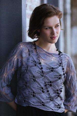 Необычный пуловер связанный поперек