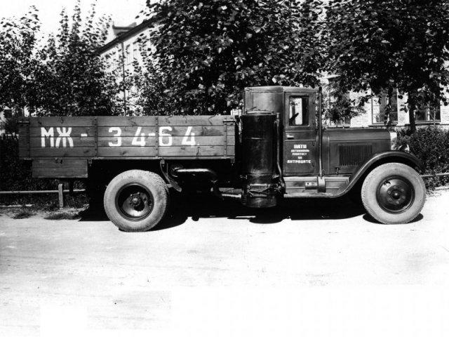 НАТИ-23А - опытный газогенераторный грузовой автомобиль на базе ЗИС-5, предназначенный для работы на антраците, 1939 история, люди, мир, фото