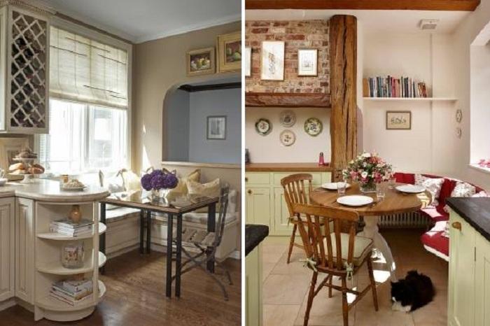 Уютная столовая зона на маленькой кухне.
