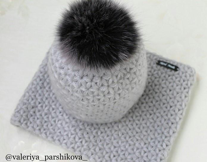 """Прекрасная шапка узором """"Пышные звёздочки"""" вязание спицами,рукоделие,своими руками,сделай сам,узор"""