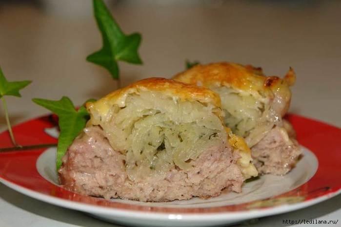 Мясные гнезда с картофельной начинкой
