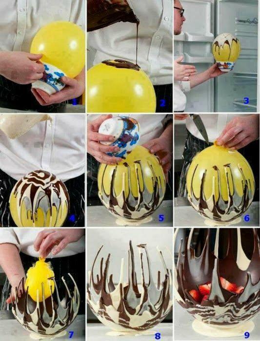 Сладкая ваза, которую можно приготовить с помощью простого воздушного шарика.
