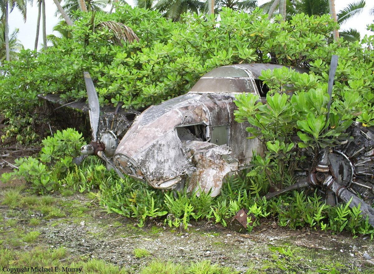Потерпевший крушение в 1980 г. самолет Локхид 18-56 Лодестар