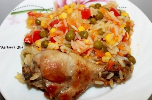 Курица с рисом и овощами по-…
