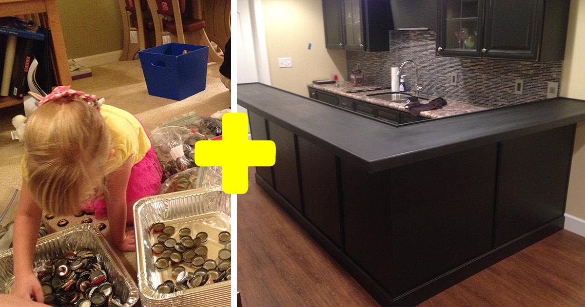 Мужчина 5 лет собирал крышки от бутылок чтобы преобразить кухню, и вот РЕЗУЛЬТАТ