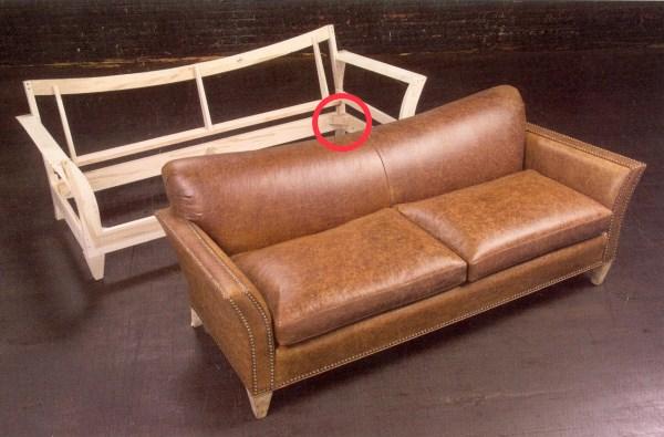 В углах дивана есть армирующие блоки