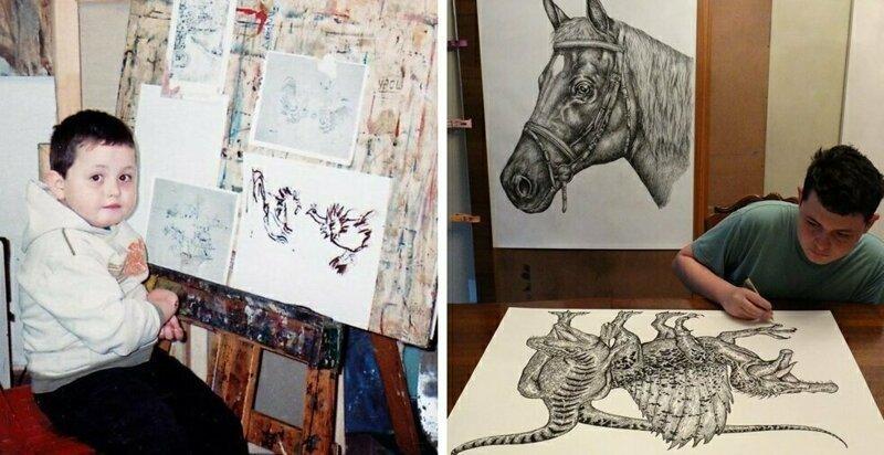 16-летний художник из Сербии рисует по памяти невероятно детализированные изображения животных