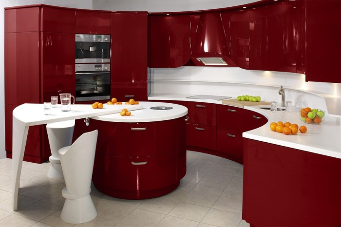Красно-белая кухня в стиле хай-тек.