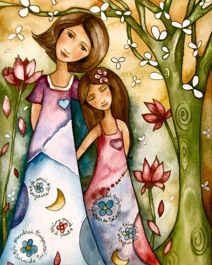 Mother and daughter whimsical forest by claudiatremblay on Etsy
