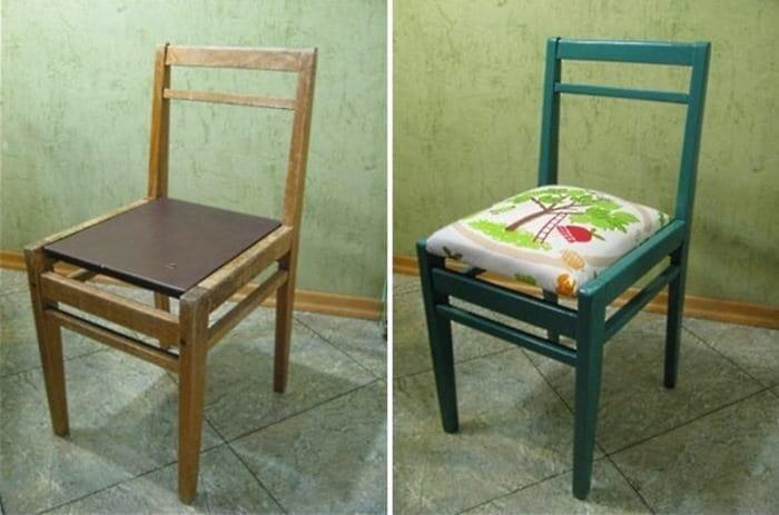Добавим несколько идей по переделке стульев до и после, идея, мебель, ремонт, своими руками, фантазия