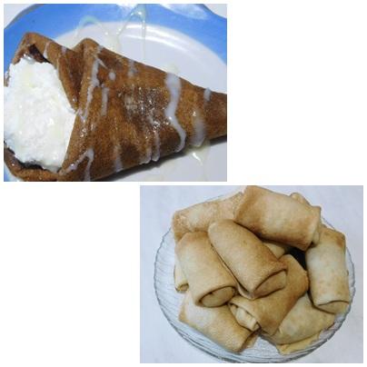 НАПОМИНАЛКА (Заварные блинчики)  И ПОХВАСТУШКА ( Шоколадные  блины с  творожно-ванильной начинкой)