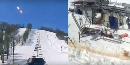 Странные объекты в небе перед аварией на горнолыжном курорте в Грузии
