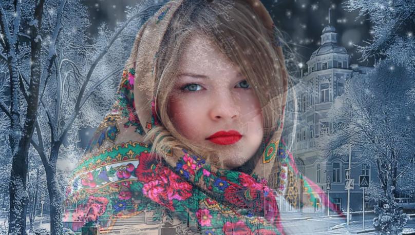Видео-зарисовка из фотографий славянских девушек в песне  Алсу Зимний сон