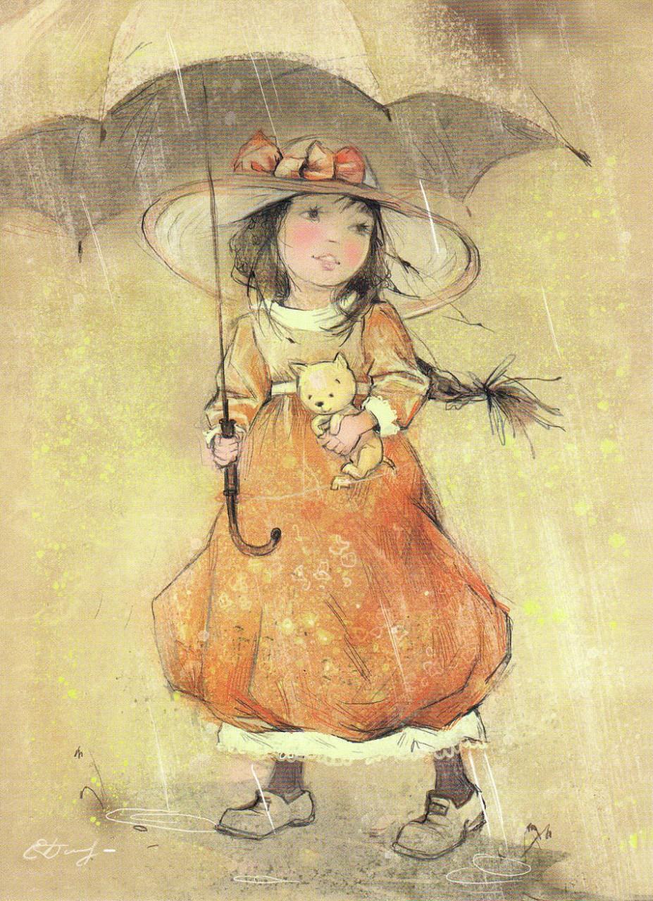 Ретро открытки с осенью, картинки