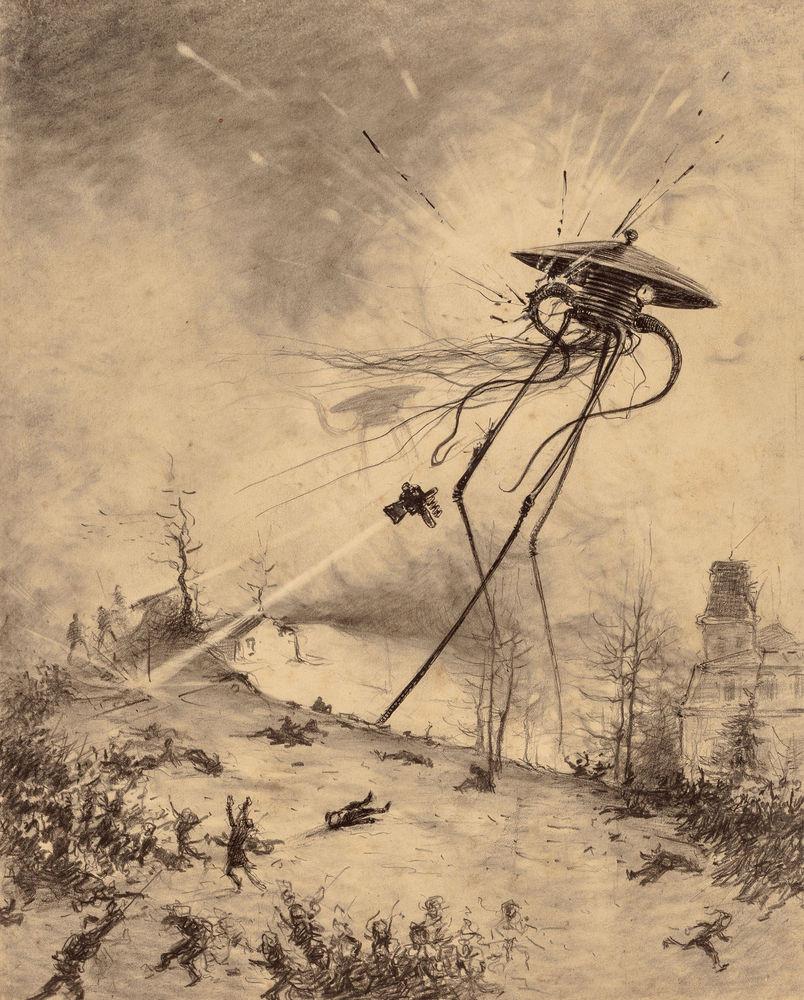 Марсианская боевая машина, поражённая снарядом. Герберт Уэллс, война миров, иллюстрации, история