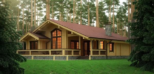 красивые одноэтажные дома из бруса, фото 23