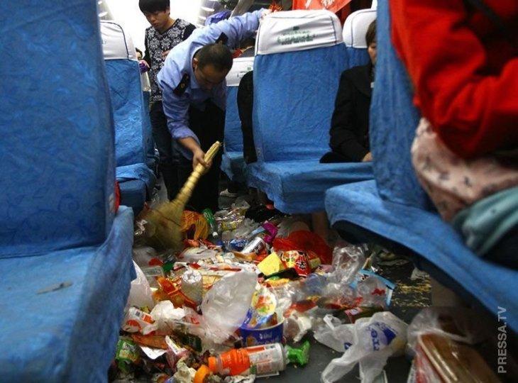 Грязь и бардак в поездах Китая