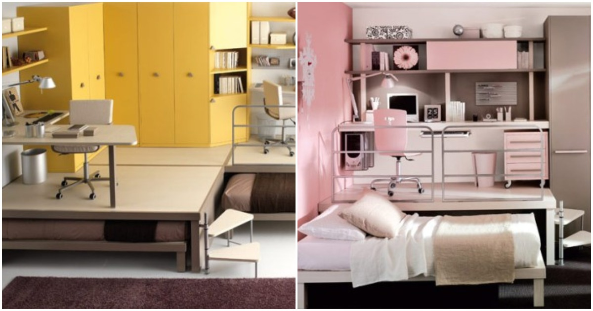 Стиль лофт для молодежи: оригинальные двухуровневые кровати и не только