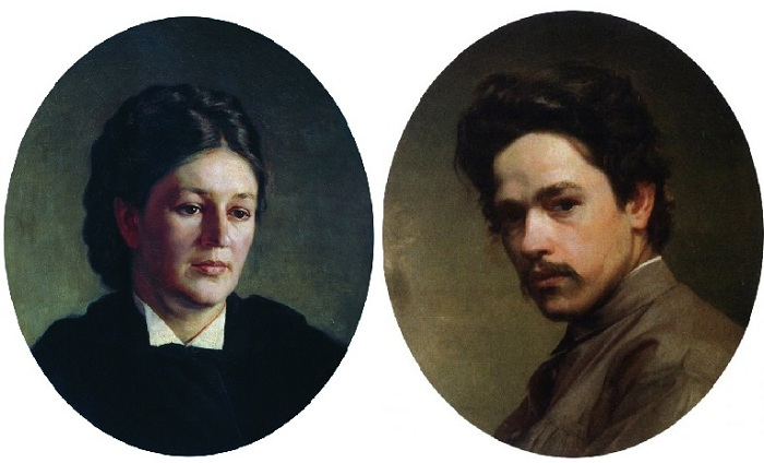Портрет Марии Павловны Ярошенко (1875 год)./ Автопортрет Николая Ярошенко.
